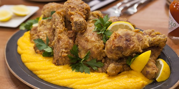 Nagymama's sweet tea-brined fried chicken with butternut squash puree