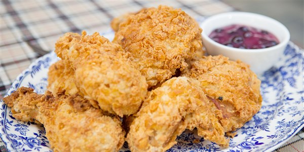 Cornflake Fried Chicken with Sweet and Sour Blueberry Sauce