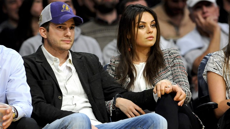newly engaged actors Ashton Kutcher and Mila Kunis attend an NBA basketball game between theNew Orleans Pelicans and Los Angeles Lakers, Tuesday, ...