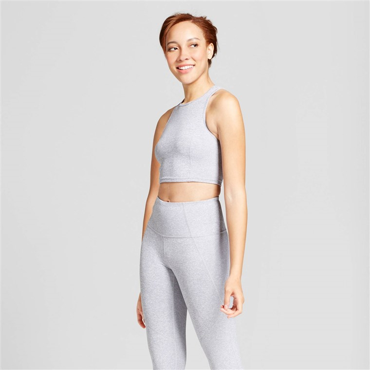 JoyLab Women's Mini Stripe Long Line Crop Top
