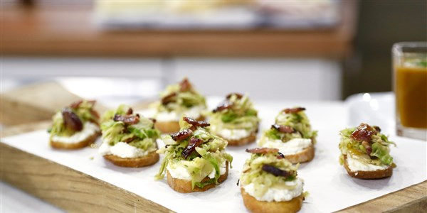 crostinivel with Ricotta, Brussels Sprouts and Maple Bacon