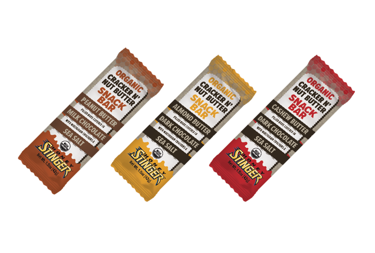 शहद Stinger Organic Almond Butter and Dark Chocolate Cracker N' Nut Butter Snack Bar