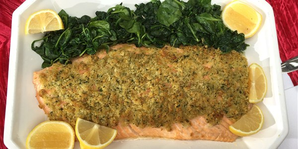 उपवास and Easy Lemon-Crusted Salmon with Garlic Spinach