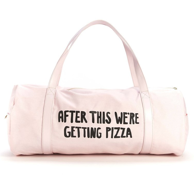 गुलाबी Duffel with pizza tag