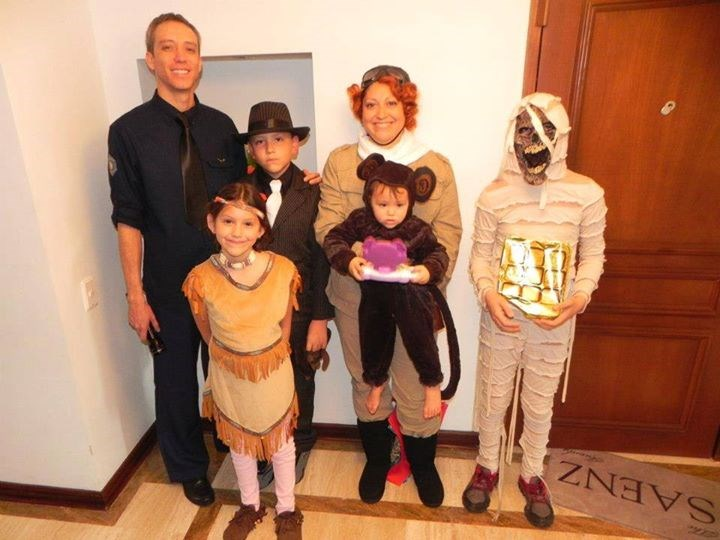 "सब ages: Elena Ynostroza Saenz writes that one child wanted a scary costume so he went as a mummy as part of the ""Night at the Museum 2"" theme. ""This was SO much fun to put together!"" she writes."