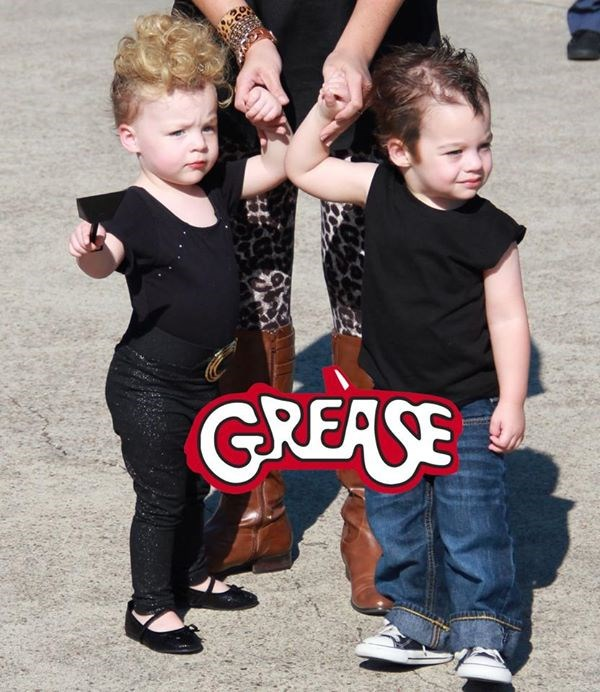 "आप're the one that I want! Natasha McAdoo's twins rock some serious '50s style as Danny and Sandy from ""Grease."""