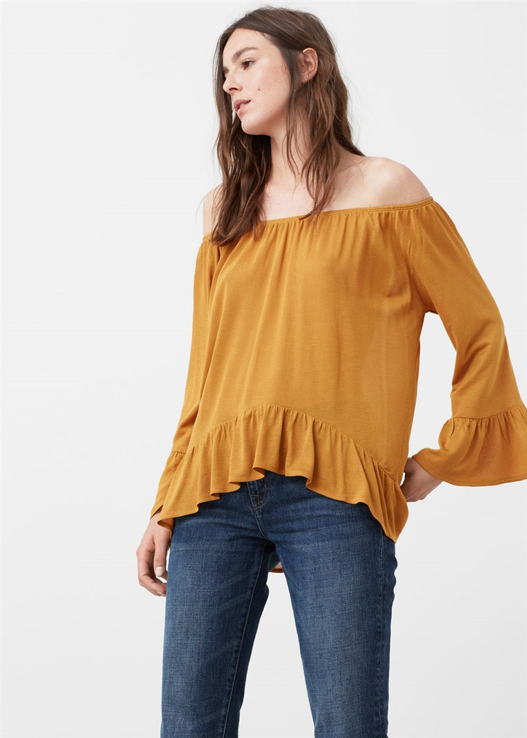 आम ruffled blouse
