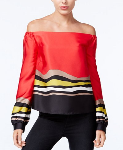 मैसी's Rachel Rachel Roy Striped Off-The-Shoulder Top
