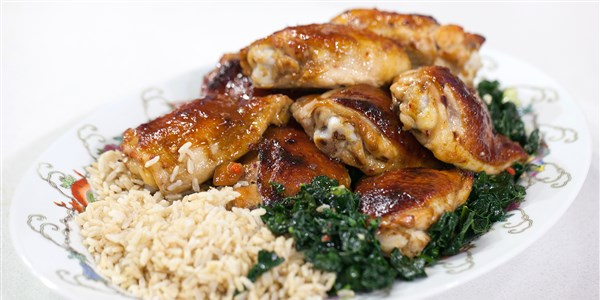Med-Hoisin Chicken Thighs with Stir-Fried Kale