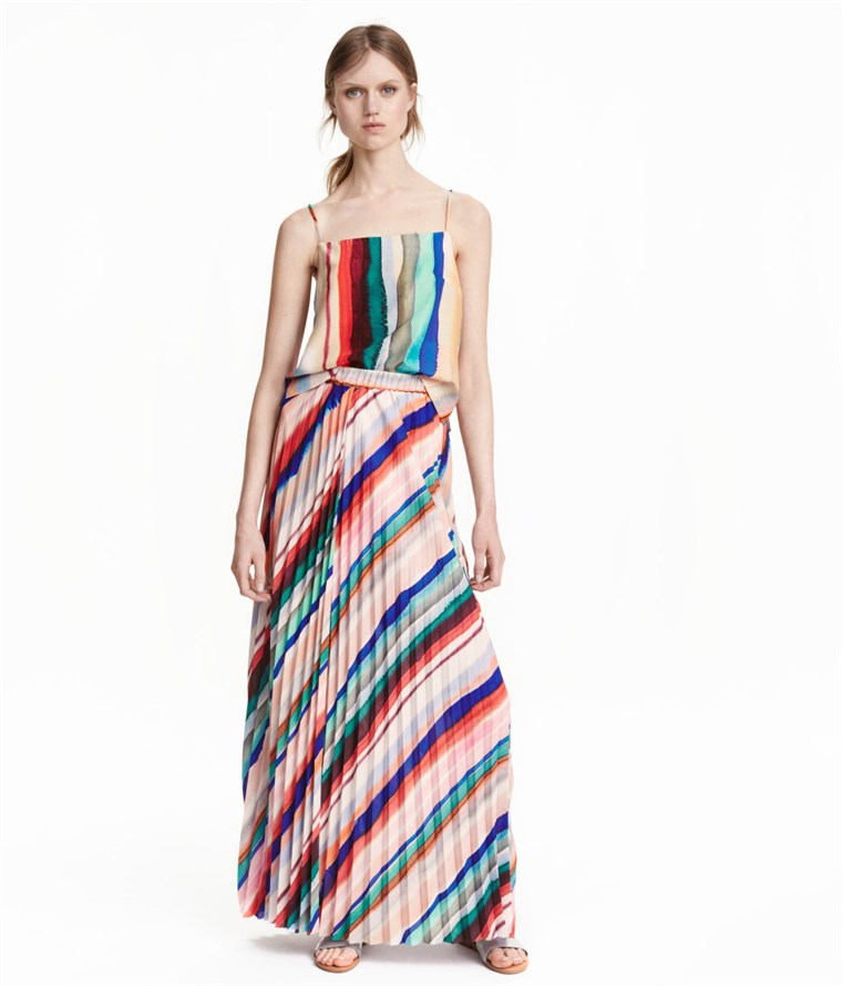 H & M striped pleated maxi skirt