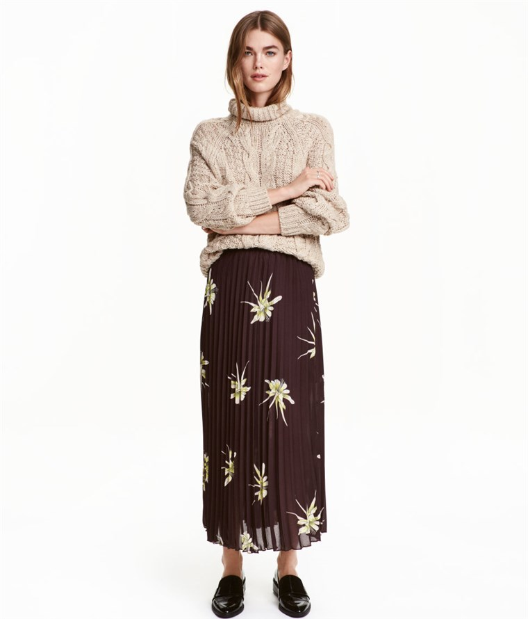 H & M pleated maxi skirt