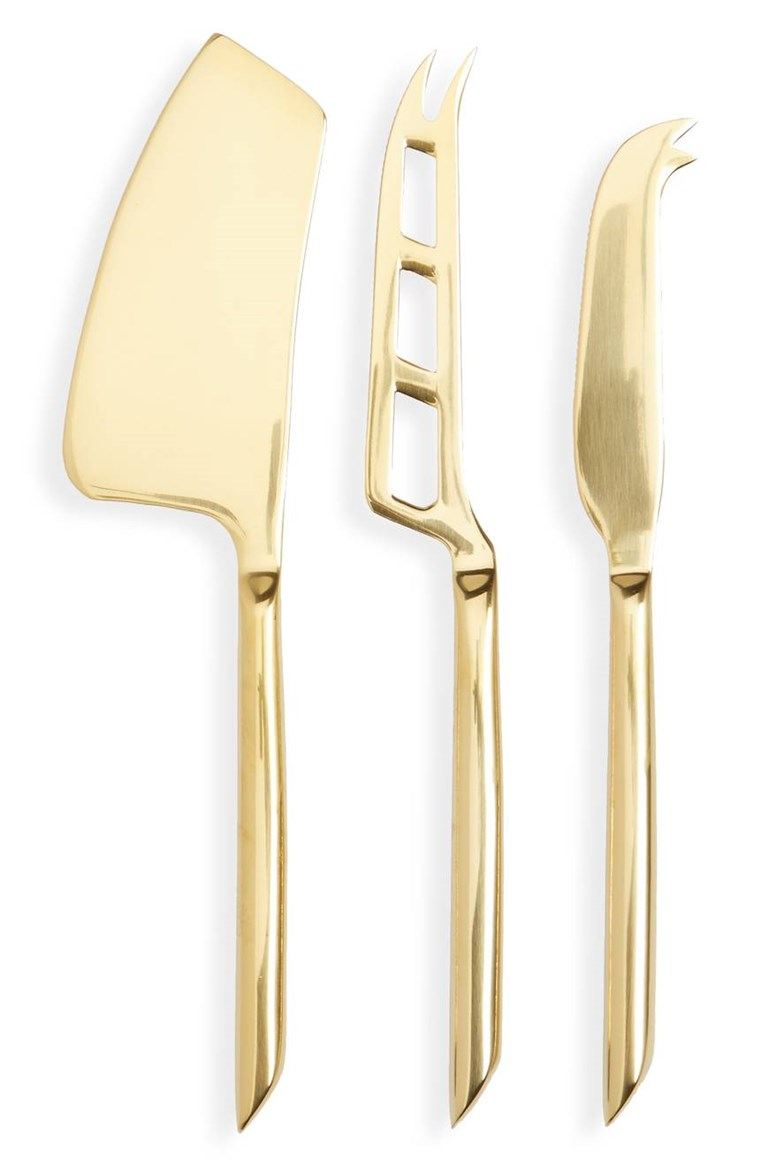 सच Fabrications set of 3 gold cheese knives