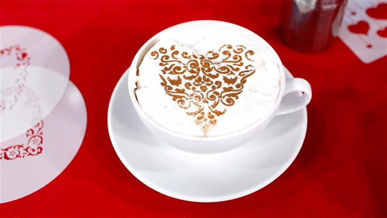 Justin Chapple shows off an easy way to decorate hot cocoa and cappuccino for Valentine's Day