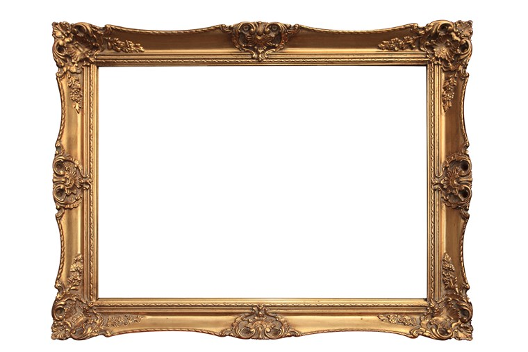 खाली gold ornate picture frame with white background