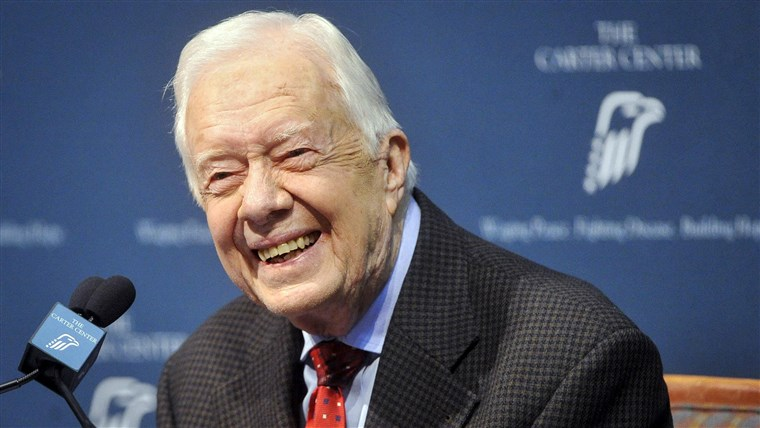 Slika: Former U.S. President Jimmy Carter takes questions from the media during a news conference about his recent cancer diagnosis and treatment plans, at the Carter Center in Atlanta