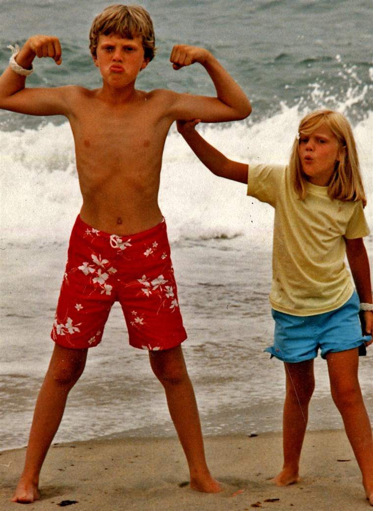א rare snapshot of the very last moment — some 25 years ago — that a female was impressed by my muscles. And she's my little sister.
