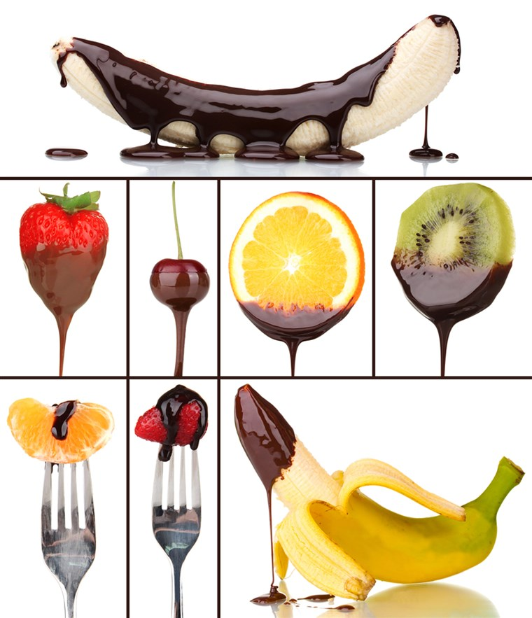 स्वादिष्ट dessert collage - fruits with chocolate isolated on white; Shutterstock ID 210879736; PO: today.com