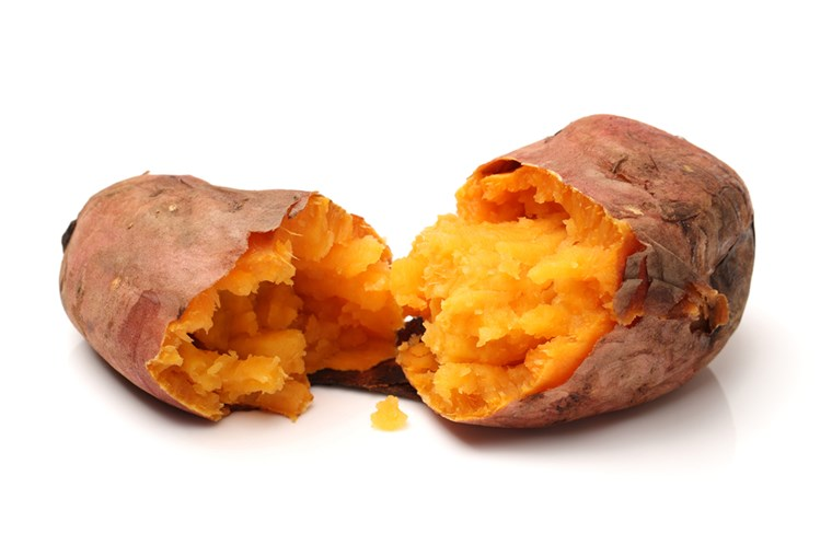 भुना हुआ sweet potatoes on a white background ; Shutterstock ID 155071907; PO: today.com