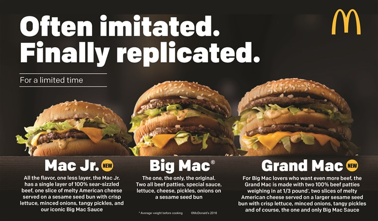 McDonald's Big Mac smaller and bigger sizes