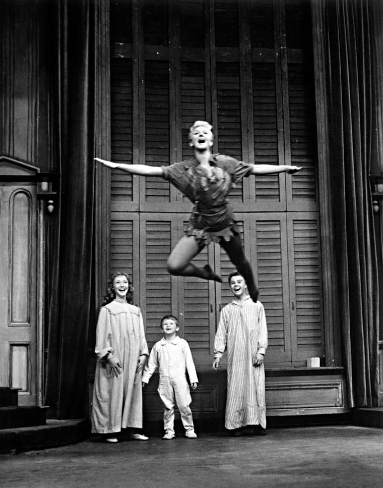 Marija Martin as Peter Pan, with the Darling children Maureen Bailey, Kent Fletcher and Joey Trent in a 1960 TV special.