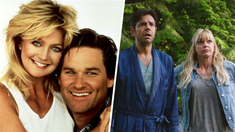 a vízbe, from left: Goldie Hawn, Kurt Russell, 1987. / OVERBOARD, from left: Eugenio Derbez Anna Faris, 2018.