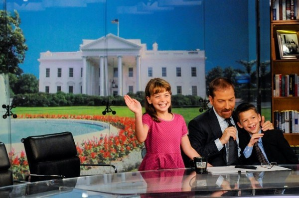 trupac Todd, with his kids Margaret and Harrison, on the set of Meet the Press.