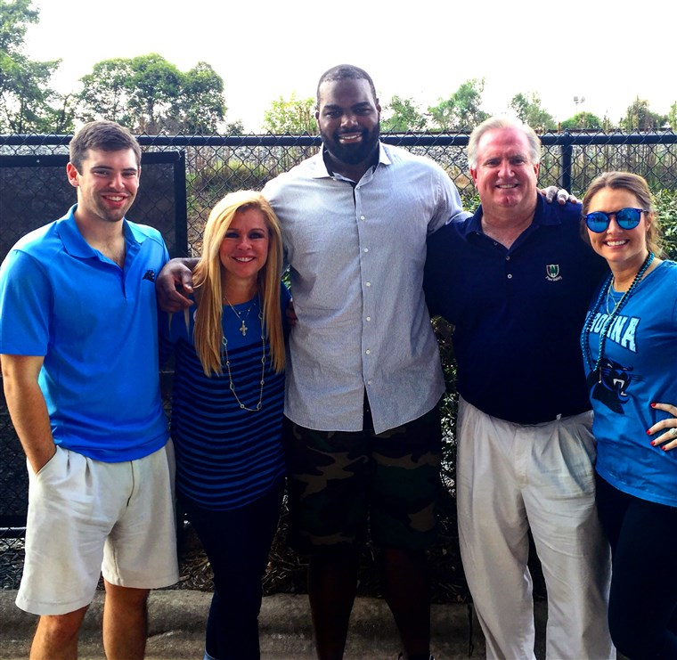 A Tuohy family after Michael's move to play for the Carolina Panthers. (Left to right: S.J., Leigh Anne, Michael, Sean and Collins)