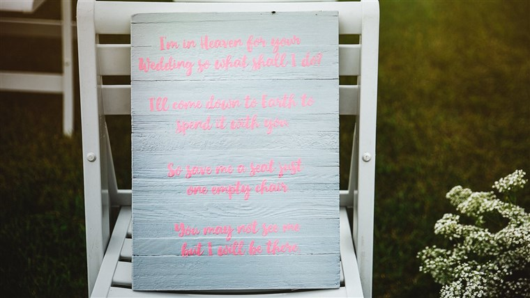 A special chair at the wedding was dedicated to the memory of Becky's son Triston.