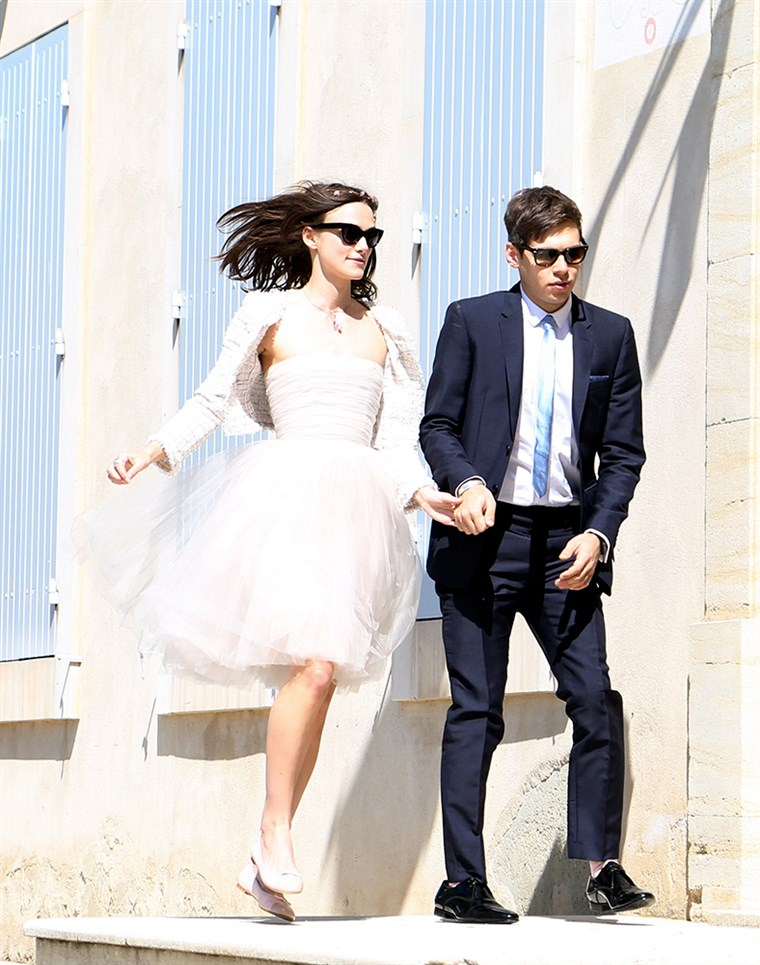 Isto chic: Keira Knightley married James Righton in cute flats at the French provencal village of Mazan, on May 4, 2013.