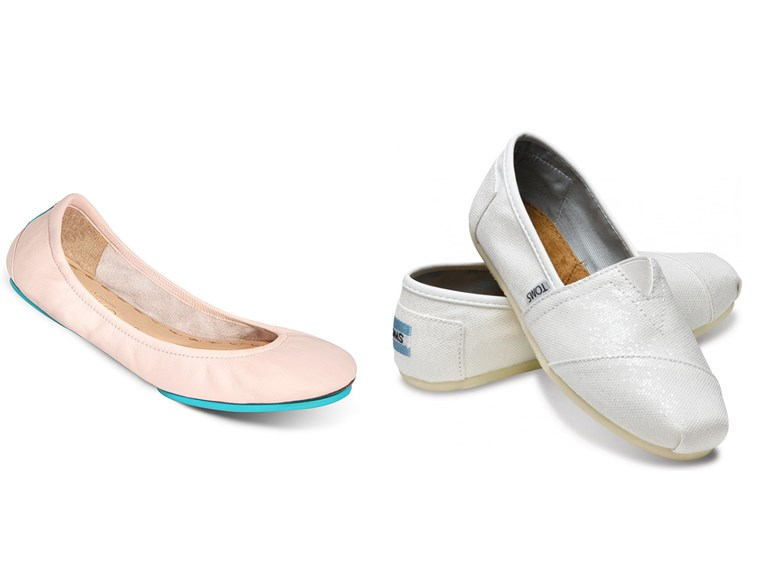 slatko and comfy: Tieks in ballerina pink and metallic TOMS slip-ons in white.
