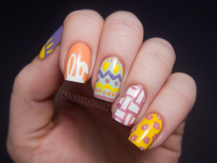 Uskrs nail art designs to DIY: bunnies, baskets, spring flowers