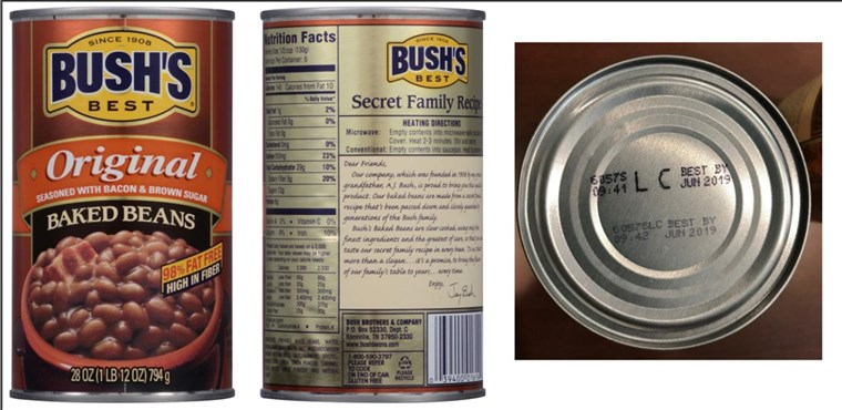 [Srpanj 22, 2017]: BUSH'S(R) BEST ORIGINAL BAKED BEANS Voluntary Recall - 28 ounce with UPC of 0 39400;01614 4 and Lot Codes 6057S LC and 6057P LC with the Best By date of Jun 2019
