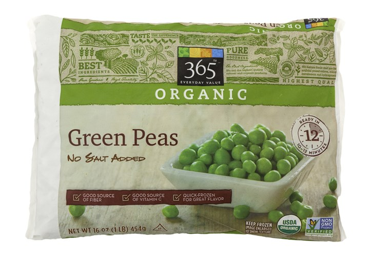 pers who buy organic frozen vegetables will find peas and corn up to $1 cheaper at Whole Foods.