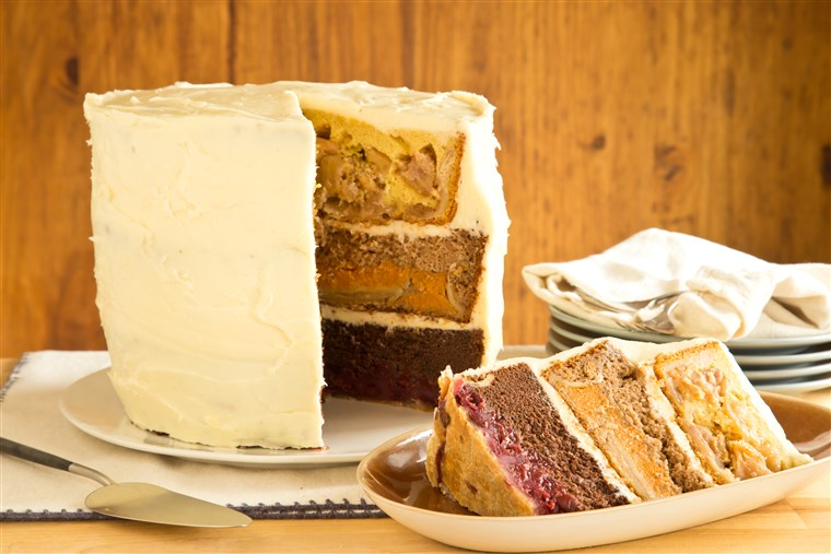 Cherpumple is a towering six-layer dessert made with cherry pie, pumpkin pie, apple pie, chocolate cake, yellow cake and spice cake