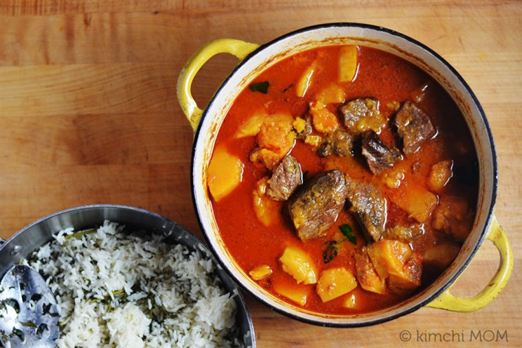 thai red curry with beef and butternut squash