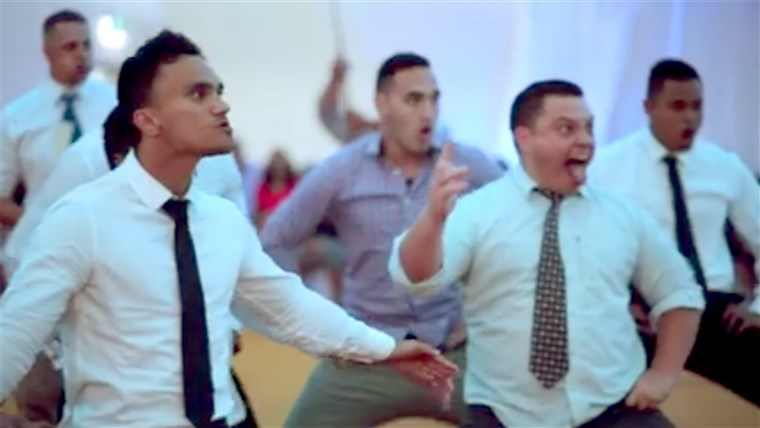 माओरी haka being performed at a New Zealand wedding