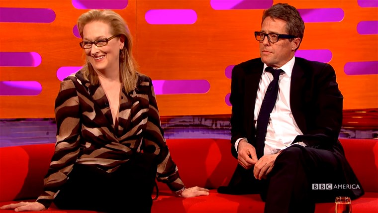 Kép of Hugh Grant and Meryl Streep on the Graham Norton Show