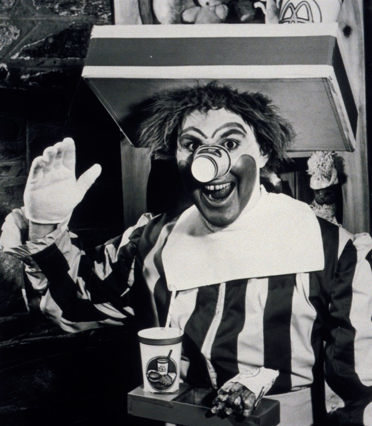 Black & white photo of Willard Scott as the first Ronald McDonald.