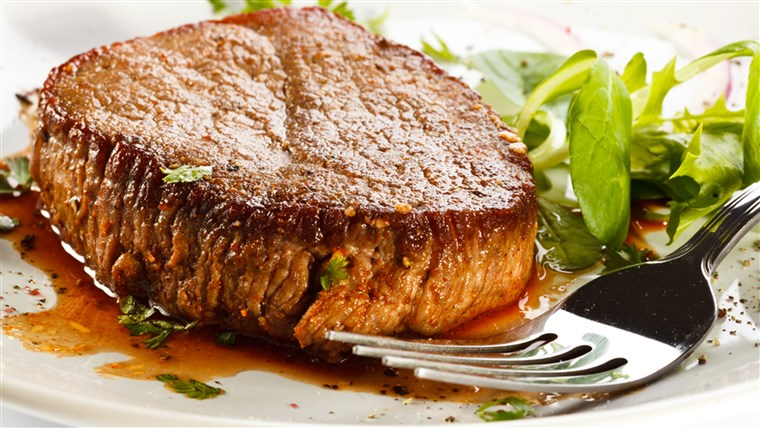 Grillezett steak and vegetables; appetizer; background; baked; barbecue; barbecued; beef; beefsteak; chop; cooked; cutlet; diet; dining; dinner; dish; ea...