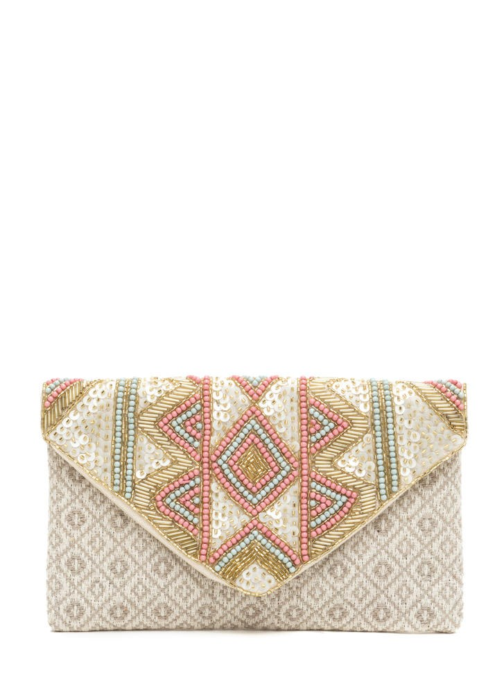 Texturált Beauty Beaded Woven Clutch