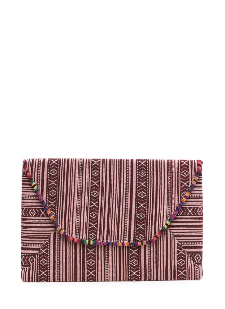 Messze Place Woven Envelope Clutch