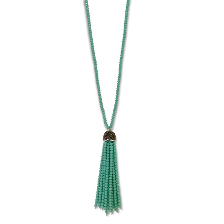 HOSSZÚ BEADED CRYSTAL TASSEL NECKLACE