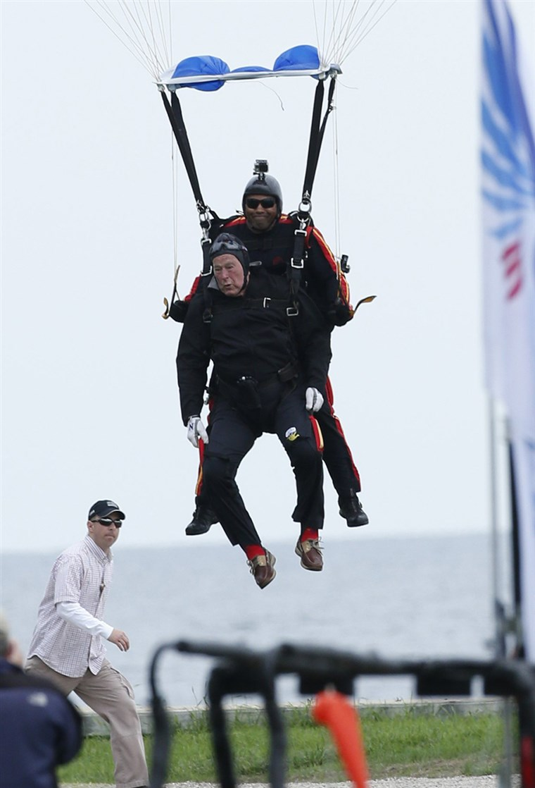 A elder Bush also went skydiving for his 80th and 85th birthdays, and vowed two years ago when he turned 88 that he would skydive one last time on his 90th birthday.