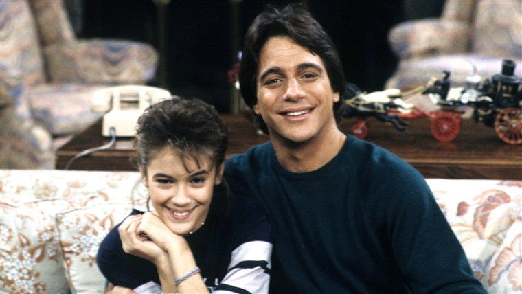 Tony Danza and Alyssa Milano on the set of Who's the Boss
