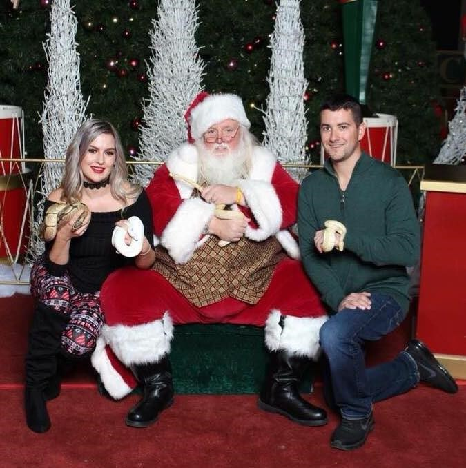 אמנדה Nagy and her boyfriend, Bob Kelly, have been taking their pet reptiles to have photos taken with Santa Scott for the last few years.