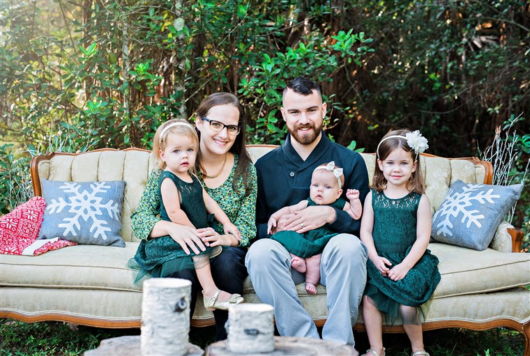 maza Lensing with her husband, Nick, and their daughters, Agatha, 4, Felicity, 3, and Anastasia, 1.