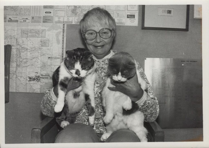 Pék and Taylor library cats with Jan Louch