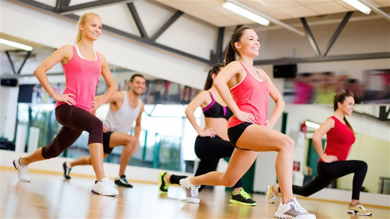 फिटनेस, sport, training, gym and lifestyle concept - group of smiling people exercising in the gym; Shutterstock ID 164474051; PO: today.com - mish