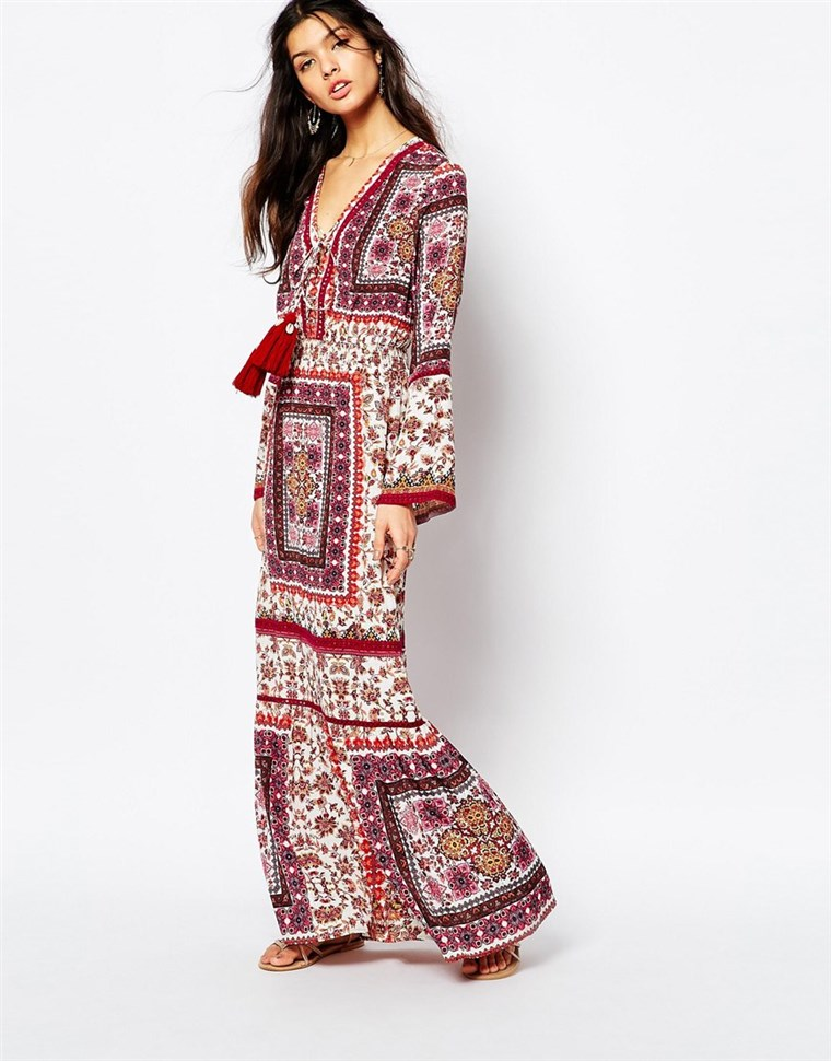 ASOS White Sand Prarie Printed Maxi Dress With High Thigh Split