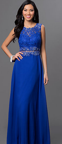 Promgirl Mock Two Piece Floor Length Prom Dress with Lace Bodice